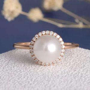 Jewelry - Fashion Women 18K Rose Gold Pearl Ring Wedding